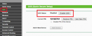 QSS WPS pin disable