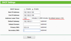 dhcp settings tp-link router