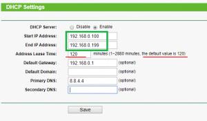 dhcp settings ip range