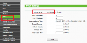 disable tp-link dhcp server