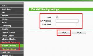 ip and mac binding settings