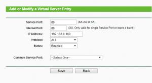 port forwarding settings