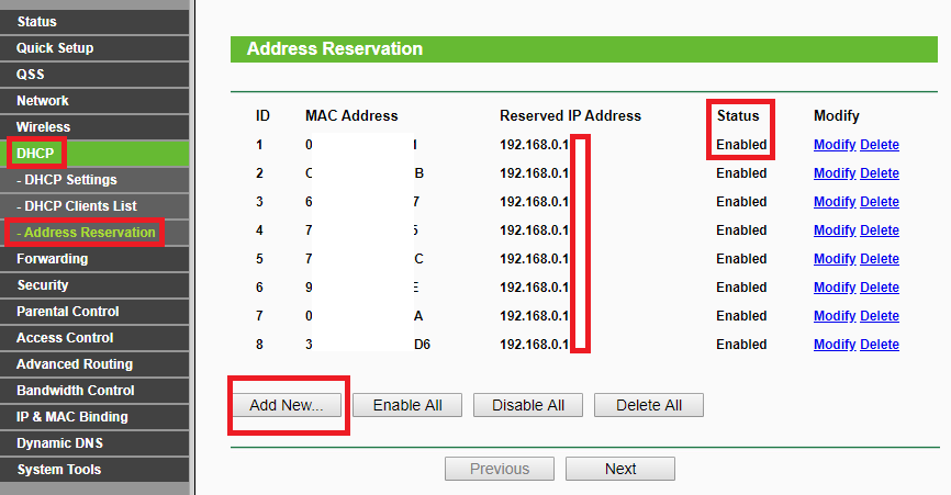 tp-link dhcp address reservation