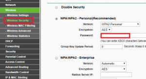 wireless security settings