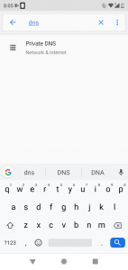 android private dns settings search