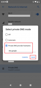android dns settings hostname