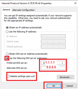 change dns setting in windows 10