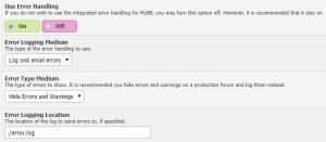 mybb error logging
